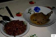 Chicken and beans. Real Chicken! / Φασόλια και κοτόπουλο χωριάτικο, αληθινό κοτόπουλο!