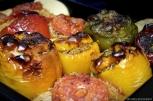 """Some """"gemista"""" (stuffed tomatoes and peppers) I made for my hosts...I'm working on making them perfect! / Άλλο ένα ταψί γεμιστά που φτιάχνω για τους οικοδεσπότες μου! Μέχρι τώρα πρέπει να 'χω κάνει ίσα με 10 ταψιά, και δεν θα σταματήσω μέχρι να τα τελειοποιήσω."""