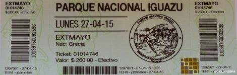 The entrance ticket to the Iguazu Falls. / Το εισιτήριο για τους καταρράκτες.